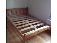 Solid pine double bed with foam mattress
