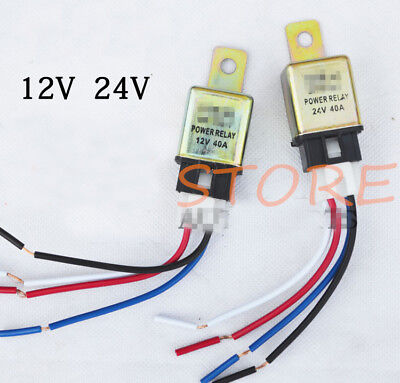 (12V 24V 40A NO Car Auto Truck Power Relay 4 Pin + Harness Socket)