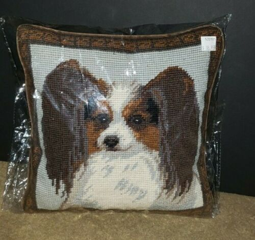 PAPILLON Dog Handmade Finished Needlepoint Pillow 10 by 10 NWT