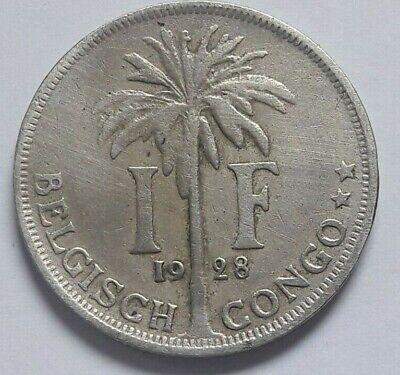 1 Franc 1 Frank Belgisch Congo belge Albert I 1928