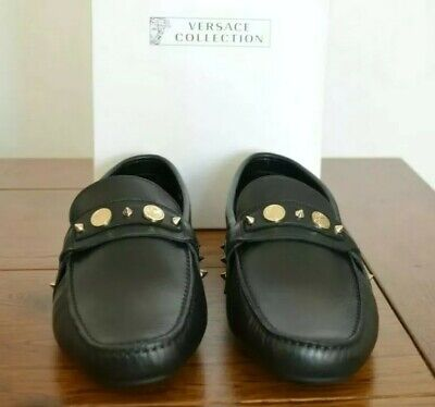 Versace Collection Studded Black Leather Loafers - Size UK 9 EU 43 RRP £410