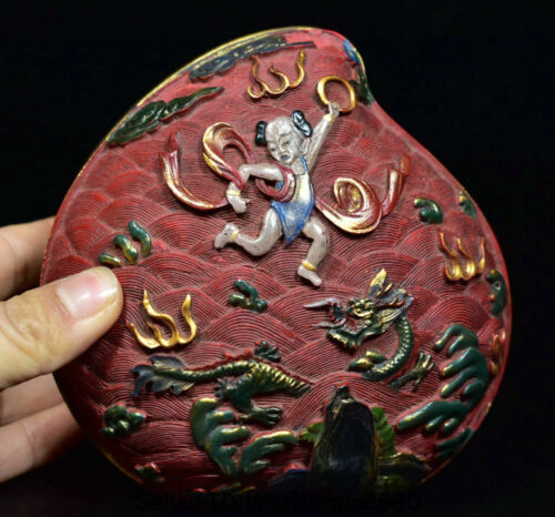 """4.6"""" Qianlong Marked Old China Red Lacquerware Painting Dragon Peach Jewelry box"""