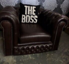 Stunning Chesterfield Vintage Low Back Club Chair Conker Brown Leather 35 Years Old - UK Delivery
