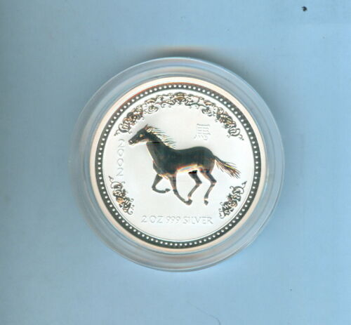 2002 HORSE AUSTRALIAN TWO DOLLARS 2 Oz. .999 SILVER - 1 COIN TOTAL