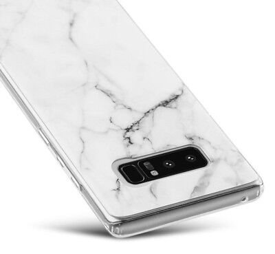 Samsung Galaxy Note 8 - Hard TPU Gummy Rubber Case Cover White Marble Pattern - White Gummy