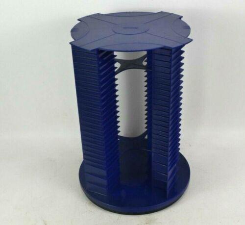 FELLOWES 112 CD Rotating Spinning Tower Blue Plastic Storage & Display Rack USA