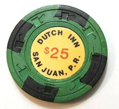 $1 EL CONQUISTADOR White Blue Casino FAJARDO Puerto Rico Poker Chip H/&C CJ old