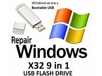 Windows XP – x32Bit 9 in 1 Operating System Recovery Repair Restore Boot Usb