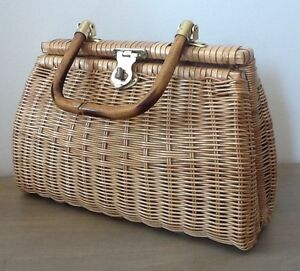 Vintage wicker purse with bamboo handles