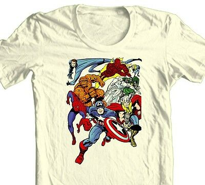 MARVEL Comic T-shirt Superhero collage vintage retro comic book 100% cotton tee - Comic Book Superhero