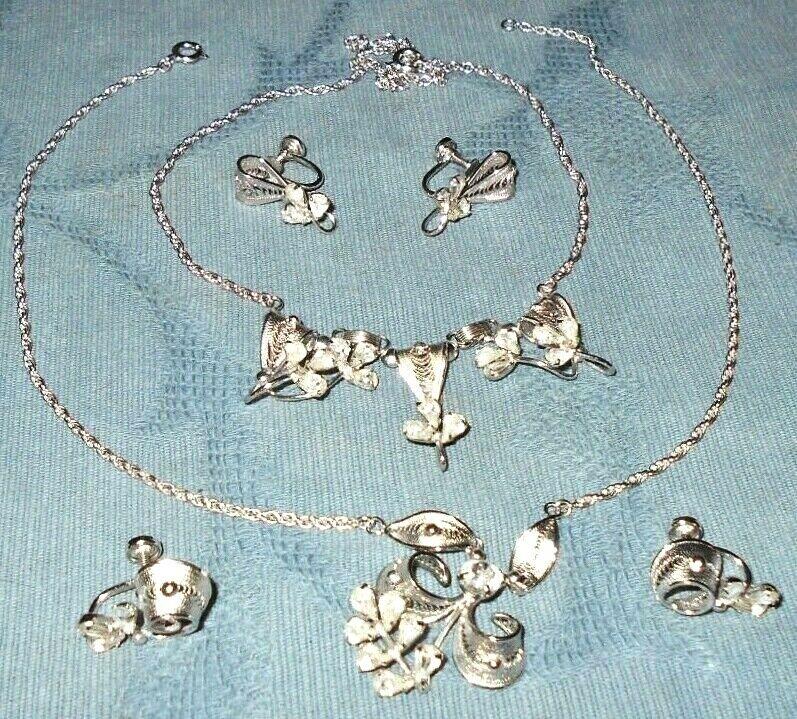 2 Very Nice Vintage Sterling Sets Filigree Design Necklace & Earrings