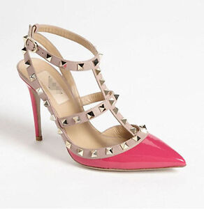 Fashion Lady Sexy Pointed Toe Sandals Slingback Studded T-Strap Metal High Heels