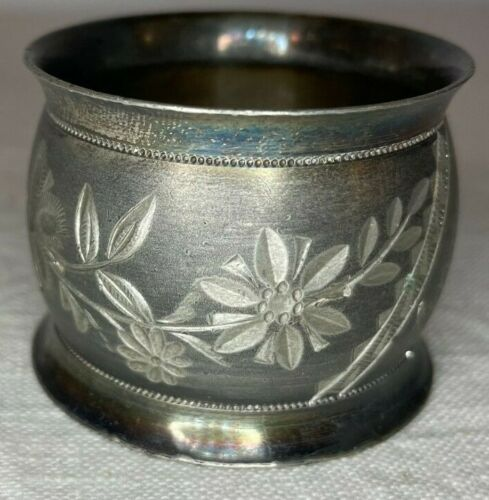 """Antique silverplate napkin ring - etched, engraved, """"Anna"""""""