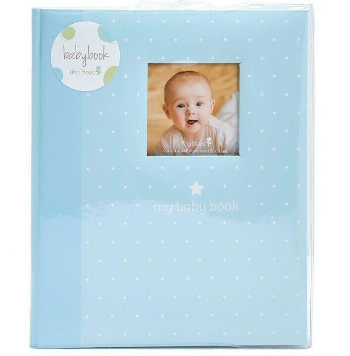 MY BABY FIRST MEMORIES BOOK - TINY IDEAS BOYS BLUE DOTS - KEEPSAKE RECORD ALBUM