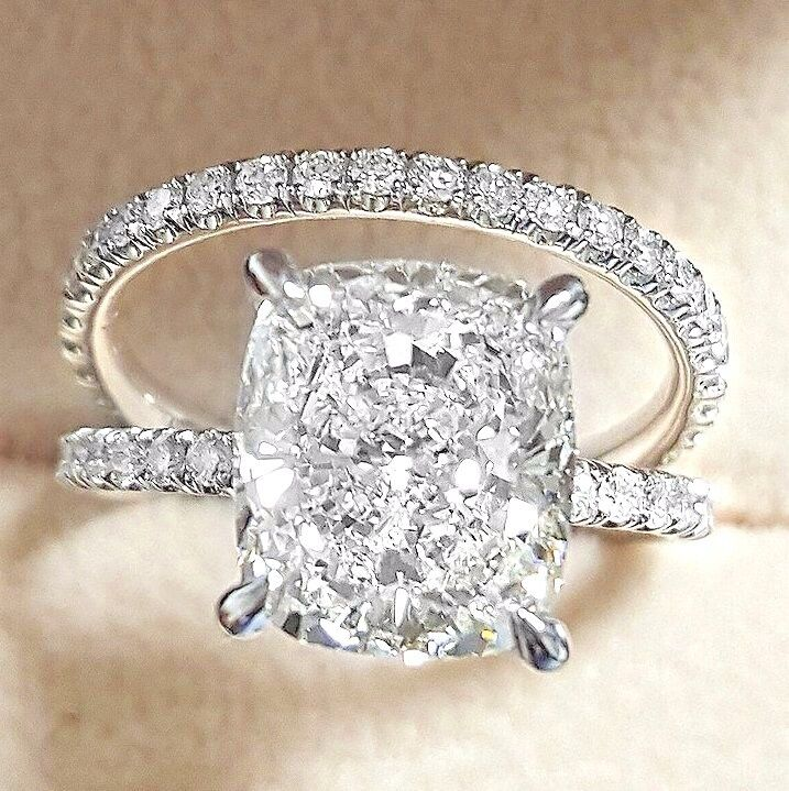 Elegant 3.00 Ct Cushion Cut Diamond Engagement Ring Set GIA G,VS2 18K WG USA!