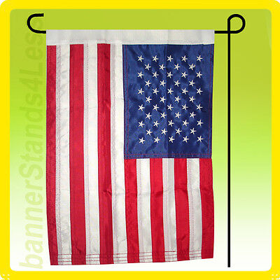 12x18 Inch Us American Nylon Embroidered Usa Sewn Garden Flag + Pole