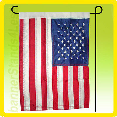 12x18 Inch Us American Nylon Embroidered Usa Sewn Garden Flag + Pole