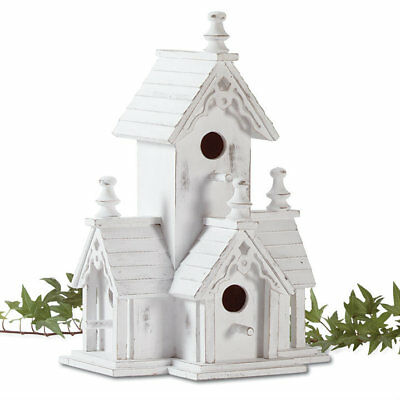 White Wood Victorian Style Bird House