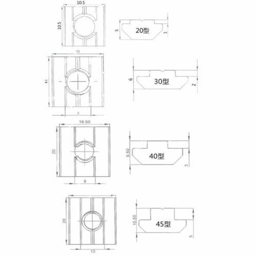 20pcs Block Square nuts T-Track Sliding Hammer Nut for Fastener Aluminum Profile