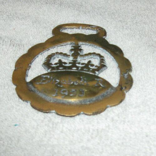 Vintage Elizabeth R 1953 Brass Medallion Horse Harness Ornament Rare