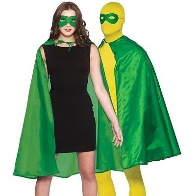 Adult Mens Ladies Unisex Superhero Fancy Dress Kit Cape & Mask Green Cloak New - Green Superhero