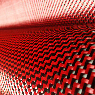 Carbon Fiber Red Made With Kevlar Cloth Fabric W Weave 40 3k 5.9oz 200gsm