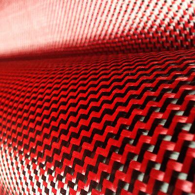 Carbon Fiber Red Kevlar Cloth Fabric W Weave 40 3k 5.9oz 200gsm
