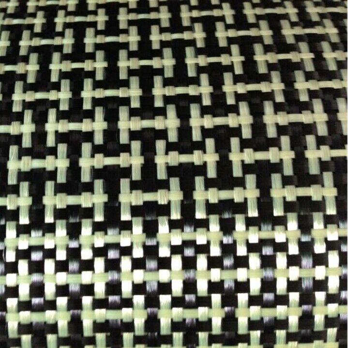 "Carbon Fiber/Yellow Kevla Cloth Fabric I Weave Plain 3K5.9oz/200gsm 40"" wide"