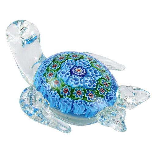 "Hand Blown Art Glass Blue Millefiori Sea Turtle Figurine 4.5"" Long New!"