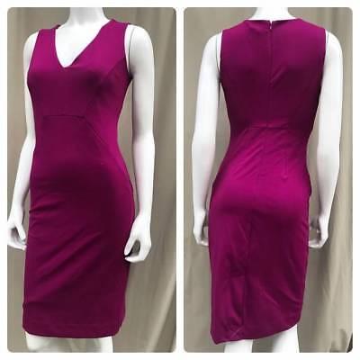 NEW ANN TAYLOR Fuchsia Classic Sheath Career Day to Night Dress w/ Stretch M -