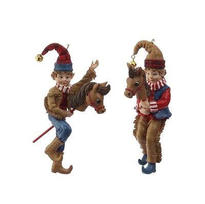 """RAZ Imports 5"""" Cowboy Elf Ornaments Set/2 Riding Stick Pony Horse Christmas NEW!"""