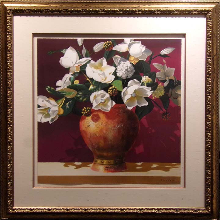 "James Jensen ""magnolia""embellished Serigraph On Paper Hand Signed W/framed"