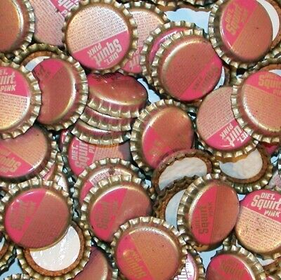 Soda pop bottle caps Lot of 25 DIET SQUIRT PINK cork lined unused new old stock