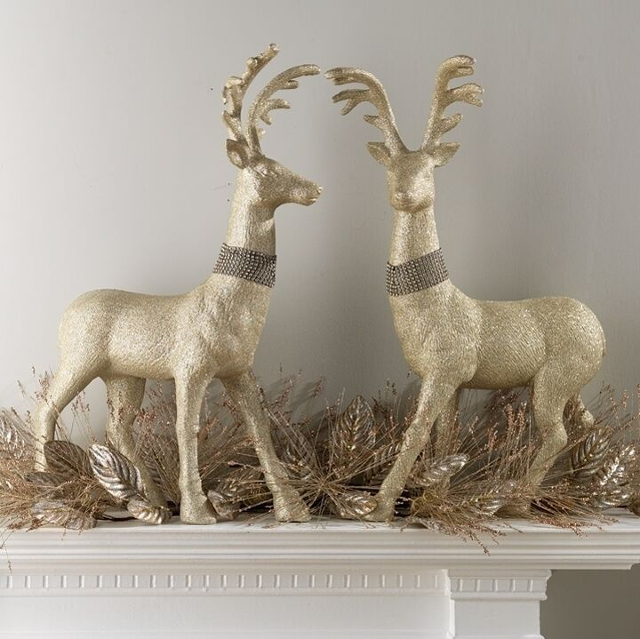 "RAZ Imports Large 29"" Gold Glittered Deer Reindeer Set/2 Christmas NEW"