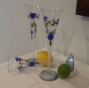 European hand painted champagne flutes