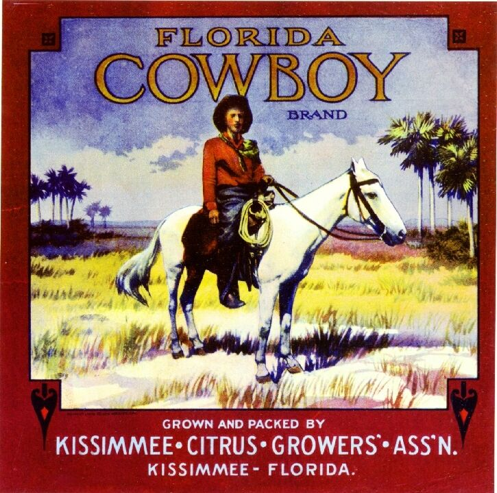 Kissimmee Florida Cowboy #2 Orange Citrus Fruit Crate Box Label Art Print