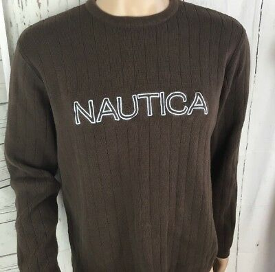 NAUTICA Pullover Ribbed Crew Sweater Spell Out Retro Vintage 90's Slim Fit Men L