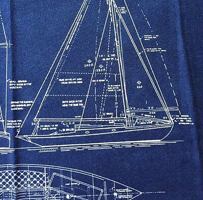 RPFMo12E Moda Yacht Sailboat Sail Boat Blueprint Drawing Cotton Quilt Fabric