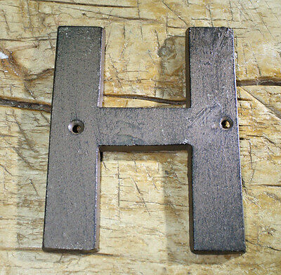 Cast Iron Industrial LETTER H Sign Rustic Brown 5