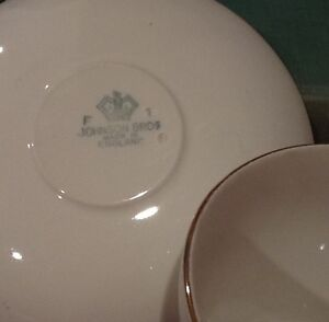 Gold and teale porcelain cup and saucers Made in England Windsor Region Ontario image 2
