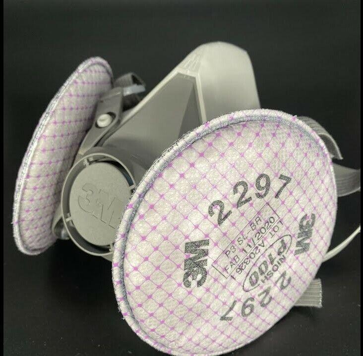 3M 6200 Half Facepiece Respirator W/ 1 Pair 3M 2297 Advanced P1OO Filters MEDIUM Business & Industrial