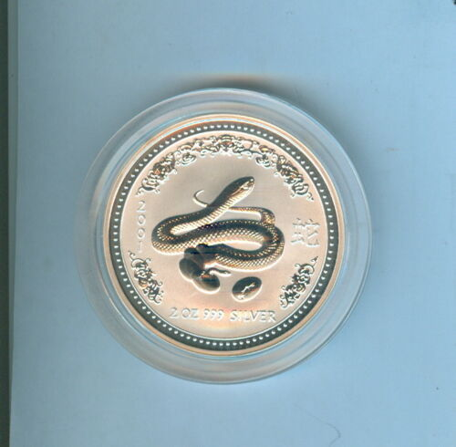 2001 SNAKE AUSTRALIAN TWO DOLLARS 2 Oz. .999 SILVER - 1 COIN TOTAL