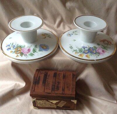 ROYAL COPENHAGEN Hand Painted Porcelain Vintage Candle Stick Holders A PAIR