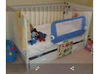 Nursery Furniture wood white cot/cotbed, drawers, wardrobe, mattress, bedding