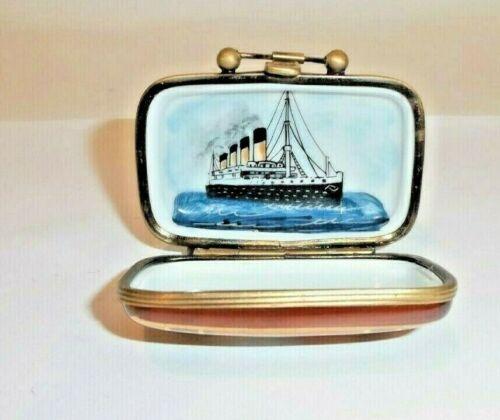 Peint Main Limoges Trinket-Suitcase On The Titanic