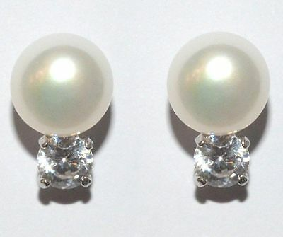 8mm Freshwater Pearl Sterling Silver Cubic Zirconia Stud Earrings Gift Box A4 - Freshwater Silver Jewelry Box