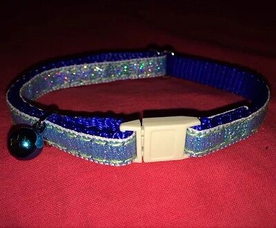 Cat kitten Collar Adj Nylon Glitter 2 Tone Blue Quick Release Safety Buckle Bell