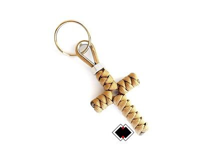 Cross keychain - 550 Paracord - Tan - Handmade in USA - Paracord Cross