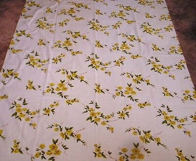 Vintage Tablecloth Repeating Yellow Blossom Branches Rolled Edge Size 54