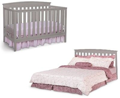 4 In 1 Convertible Baby Crib Toddler Kids Nursery Wood Bed Furniture Child Room (Convertible Crib Toddler Bed)